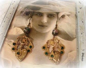 clover one of a kind vintage assemblage earrings . green pink and blue cloissone beads vintage emerald rhinestones