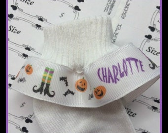 PERSONALIZED Halloween Trick or Treat Ruffle Socks Infant Toddler Girls Costume