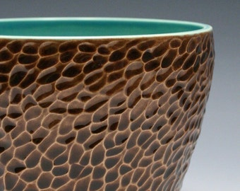 Turquoise and Brown Pottery Bowl