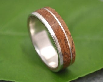 Size 6.75, 6mm READY TO SHIP Bourbon Barrel Wood Ring - White Oak Un Lado Asi Wood Ring - wood wedding band with recycled sterling silver