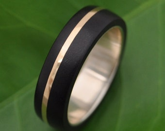 Size 8.75 READY TO SHIP Gold Solsticio Ebony Wood Ring  - ecofriendly wood wedding band with recycled 14k gold inlay