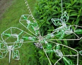 Green Crystal Dragonfly Wire Wrapped Mobile