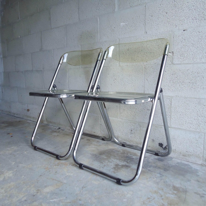 Vintage Mid Century PAIR of Folding Chairs Italian Lucite Plastic Chrome – Ha