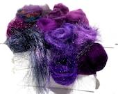 Purple Fiber kit, Purple Sampler, roving, wool, firestar glitz Needle, Wet Felting wool, Spinning, mini batt, lavender, violet, eggplant 1oz