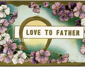 Father*Love to Father postcard style B*Digital download instant*Collage,sewing.ornaments,tags,cards