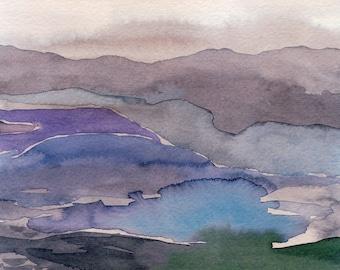 Watercolor Violet Wanderer - painting, nature, watercolor painting, art print