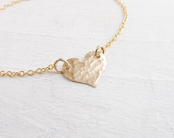 As Seen on The Fosters TV Show - Baptism Bracelets Dainty Hammered Gold filled Heart Bracelet