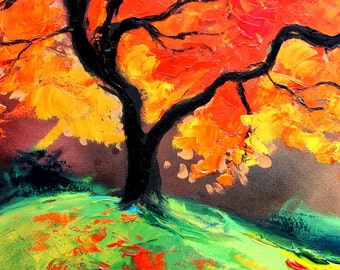 Print on canvas of original painting landscape by Aja - Autumn's Fire vertical image 18x24, 36x48 inches choose size