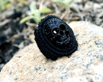 Black in Black Hemp Skull Ring