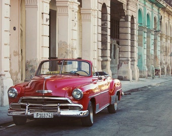 "Old Havana Cuba Photo, Classic Car Art, Red Vintage Car, Classic Car Photography, Cuba Art Print, Wall Art ""Urban Retro"""