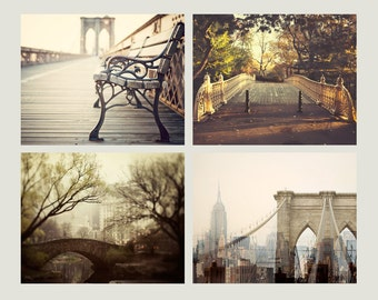 "SALE Fine Art Photography, New York Print Set, NYC Art Prints, Travel Photography, Central Park, Brooklyn Bridge, Gallery Wall ""New Yorker"""