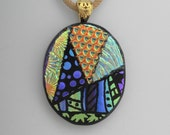 Oval Glass Necklace, Dichroic Jewelry, Fused Glass Pendant, Oval Picasso Style Glass Pendant - Hand Etched Glass Pendant