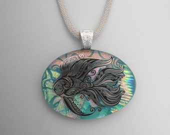 Oval Fused Glass Pendant, Dichroic Fused Glass Necklace, Zentangle Fish Pendant, Dichroic Fish Jewelry, Green Oval Pendant, Decal Pendant