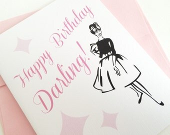 Vintage Retro Inspired Happy Birthday Card. Birthday Card for Bestie. Best Friend Card. Friend Birthday Card.