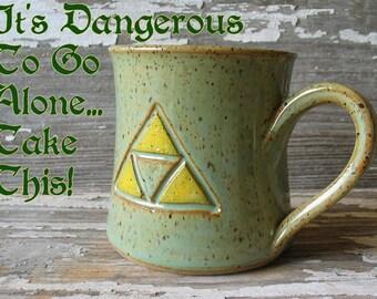 Tri-force Mug - Handmade Pottery Mug - Zelda Inspired - Legend of Zelda - Link