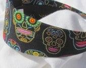 Black Dotted Sugar Skull Headband Hairband Head wrap Fashion Hair