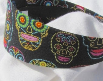 Black Dotted Sugar Skull Headband Hairband Head wrap Fashion Hair