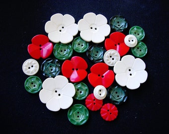 Sweet Lot of Various Vintage Red-Green-White Flower Designed Plastic Buttons