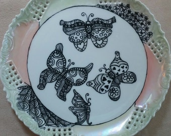 China Painted Kiln Fired Zentangle Butterfly Plate