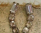 vintage rhinestone earrings . climber earrings signed KRAMER NY