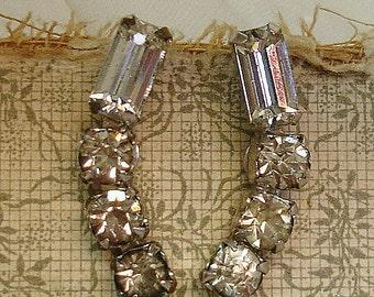 vintage rhinestone earrings . climber earrings signed KRAMER NY