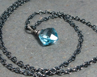 Blue Topaz Necklace Aqua Blue Pendant Oxidized Sterling Silver Necklace December Birthstone