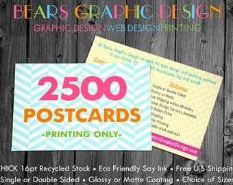 2500 Printed Postcards, Postcard Printing, Eco Friendly Printing, Matte Postcards, Glossy Postcards, Thank You Card Printing