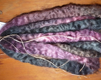 Hand Dyed Mohair Roving for Spinning / 7.5 ozs. / Full Moon Rising