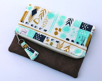 Foldover zipper Clutch. Brown waxed canvas. Teal & Gold fabric. Navy Mustard Kindle, ipad sleeve padded pouch. metal zipper. Fabric tassel