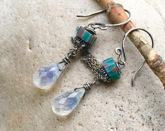 Flashy Moonstone & Scarce Trade Bead Earrings