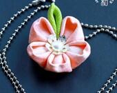 Sakura (Cherry Blossom) Tsumami Kanzashi Pendant Necklace with Freshwater Pearl