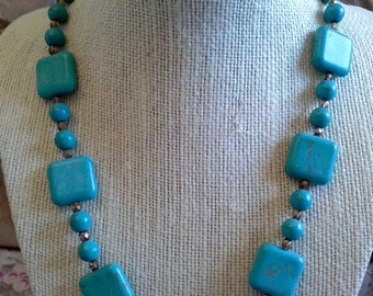 Turquoise square bead Necklace with copper leaf clasp