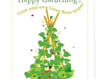 Kids gardening card Grow a green bean teepee seed kit gardening greeting card with organic seeds