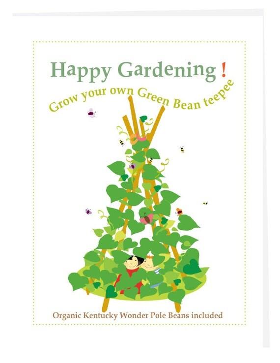 Kids gardening card Grow a green bean teepee seed kit gardening greeting card with organic seeds