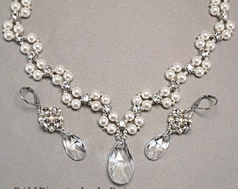Wedding Necklace and Earring Set, Statement Necklace, Wedding Jewelry,Choice of White or Cream Pearls Available