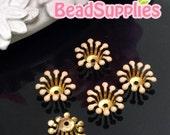 FG-EX-08003PH- Nickel Free, Raw Brass, Flower bud beadcap, peach, 12pcs