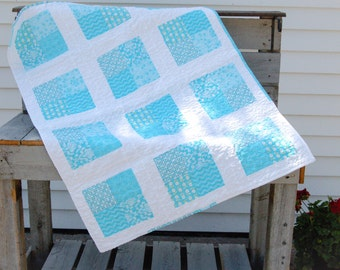 Handmade Baby Quilt in Aqua, Teal and White