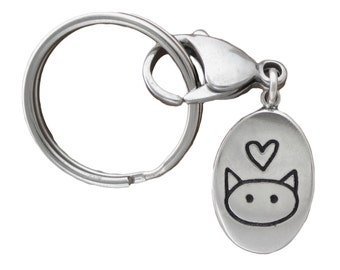 Sterling Silver Cat Keychain - Love Me Love My Cat Keyring - Silver Cat Key Fob