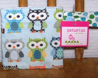 Pacifier Pod -  binky holder owls pouch snap by PETUNIAS