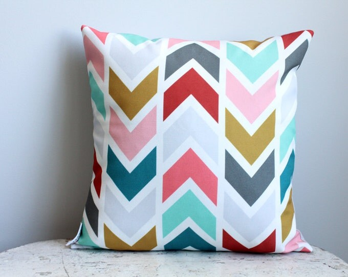 Coral arrow Pillow cover 14 inch 14x14 modern hipster accessory home decor nursery baby gift present zipper closure canvas ready to ship