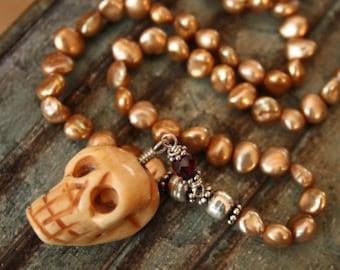 Golden Freshwater Pearls, Bone Skull Pendant Necklace, Adjustable Neclace, Sterling Silver Garnet Accents, Pearl Necklace, Skull Necklace