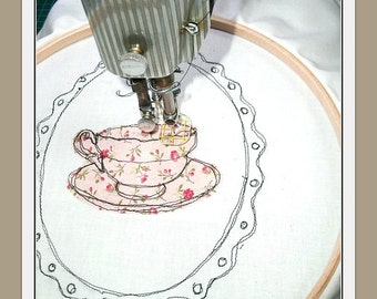 Tea and Lace hand Embroidery Pattern