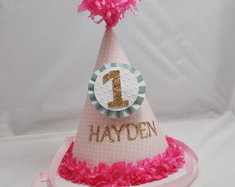 Tiny Polka Dots 1st Birthday Party Hat Girl- Personalized