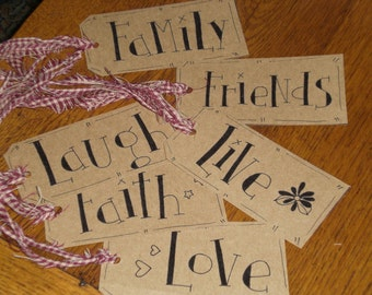 6 Primitive Hang Tags Burgundy Homespun Fabric Ties - Live - Love - Laugh - Faith - Family - Friends - Gift Ties Ornies