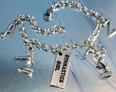 Gymnast I Love Gymnastics Sports Silver Charms Bracelet or Anklet with initial