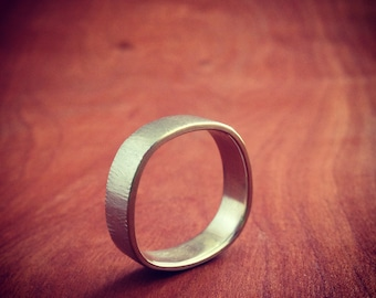 14k recycled palladium white gold finger shaped band in 6mm