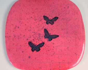 Square Ceramic Butterfly Plate Handmade Clay Pottery