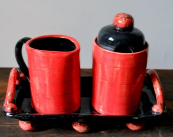 Red and Black Check Creamer and Sugar Set with Tray Wheel Thrown Stoneware Clay Pottery