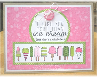 Ice Cream Themed Friendship Card, Cards for Friends, Just Because Cards, Cards for Kids, Cute Cards, Cards for Summer, I Like You Cards