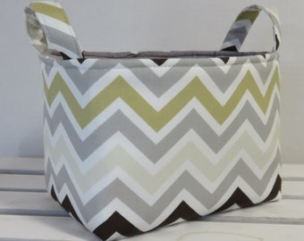 Storage Fabric Organizer Bin Container Basket - Twill River Rock Zoom Zoom Chevron ZigZag Zig Zag Fabric